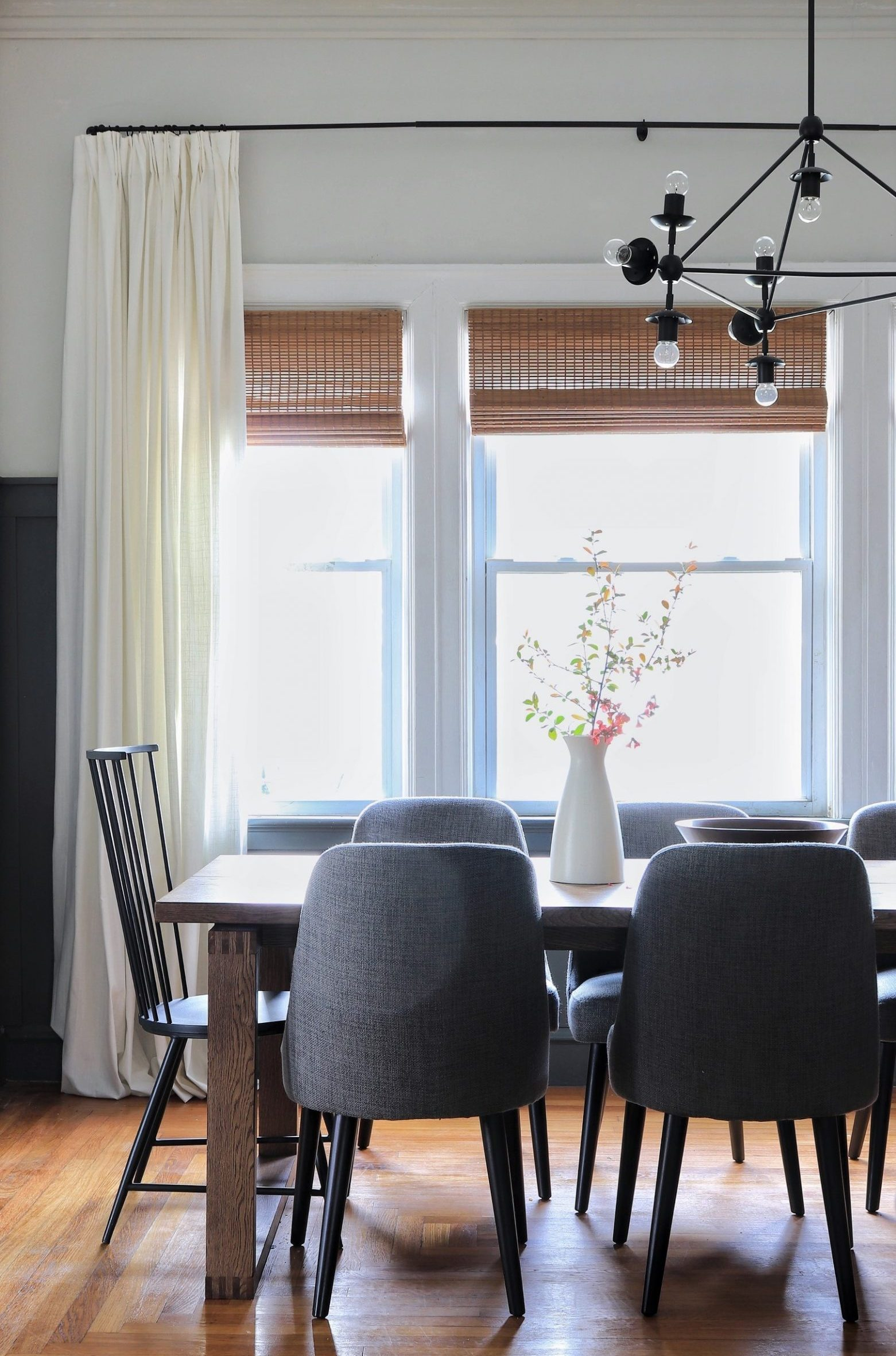 window treatments woven shades in dining room