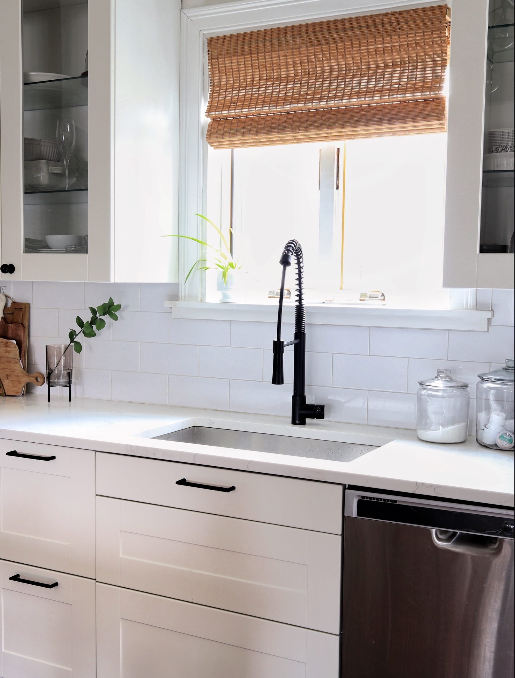 window treatments woven shades in kitchen