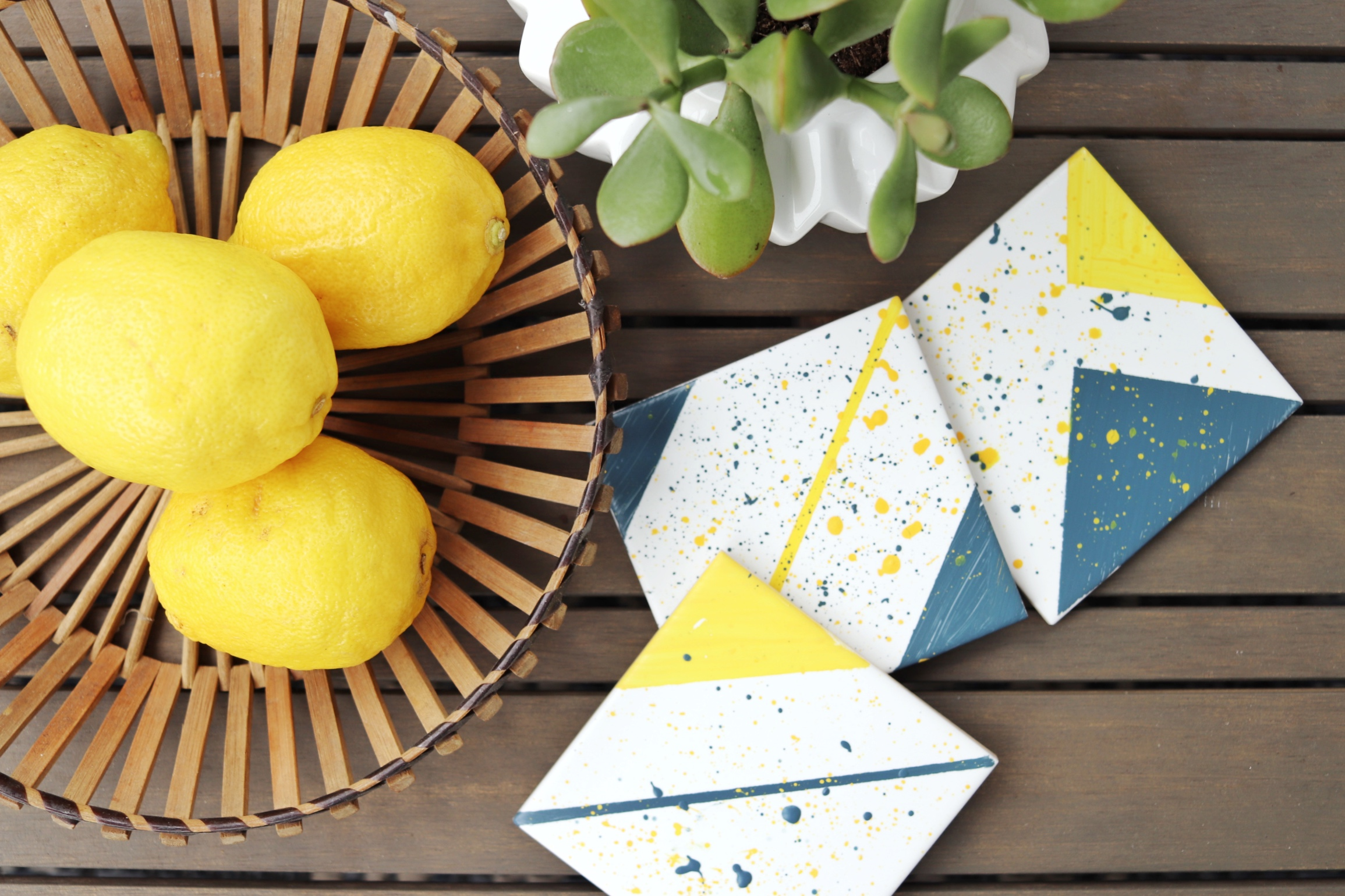 DIY paint splatter tile coaster