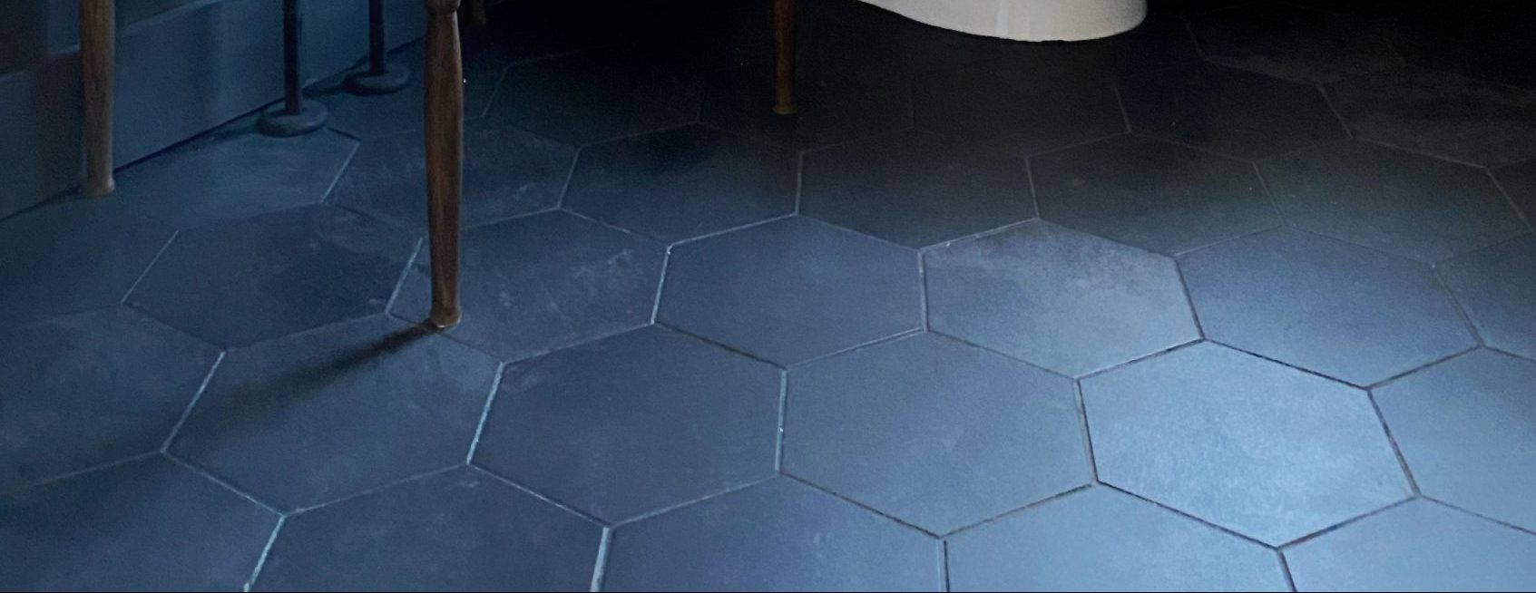 Bathroom progress:peel and stick groutable floors