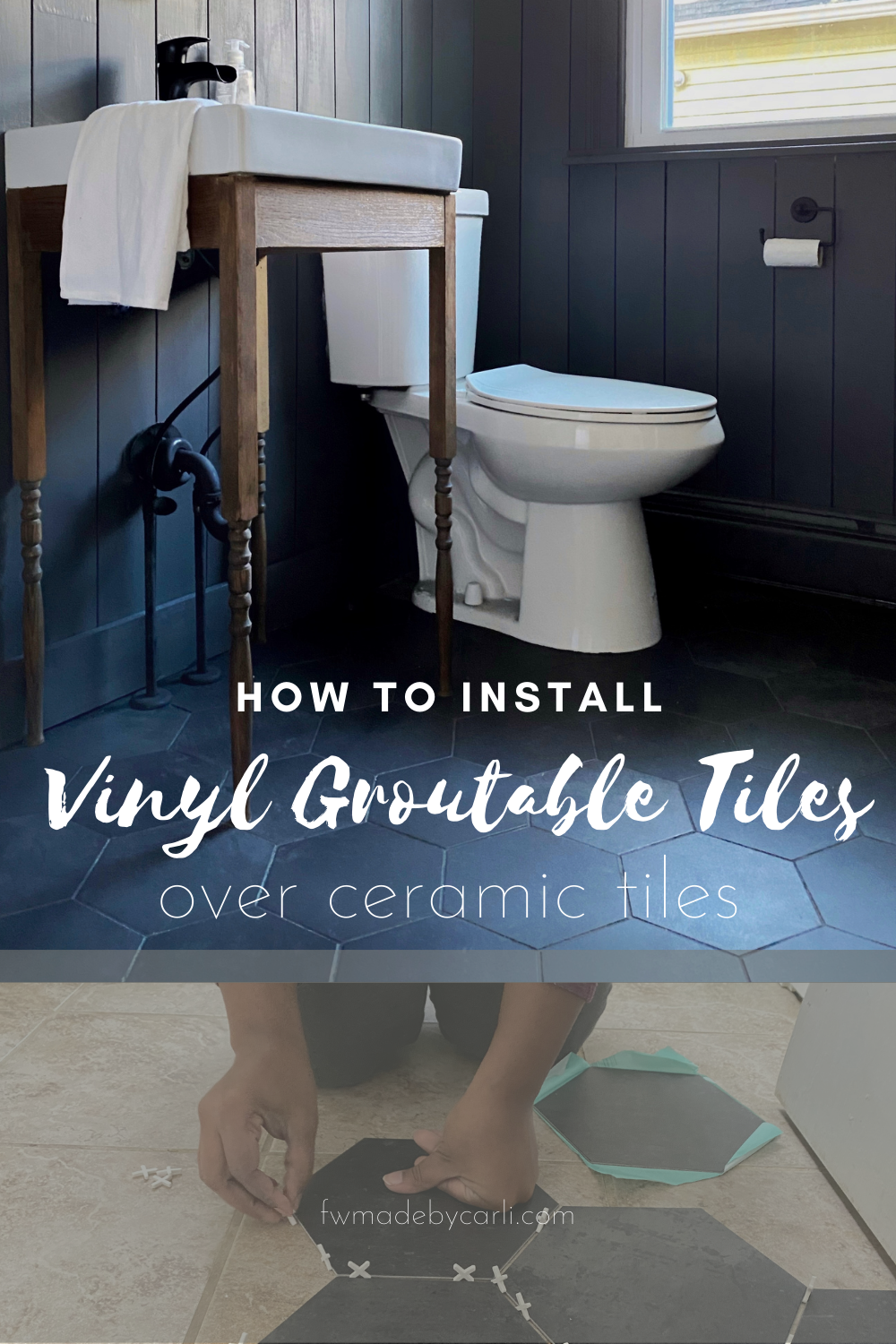 How to install groutable vinyl tiles over ceramic tile