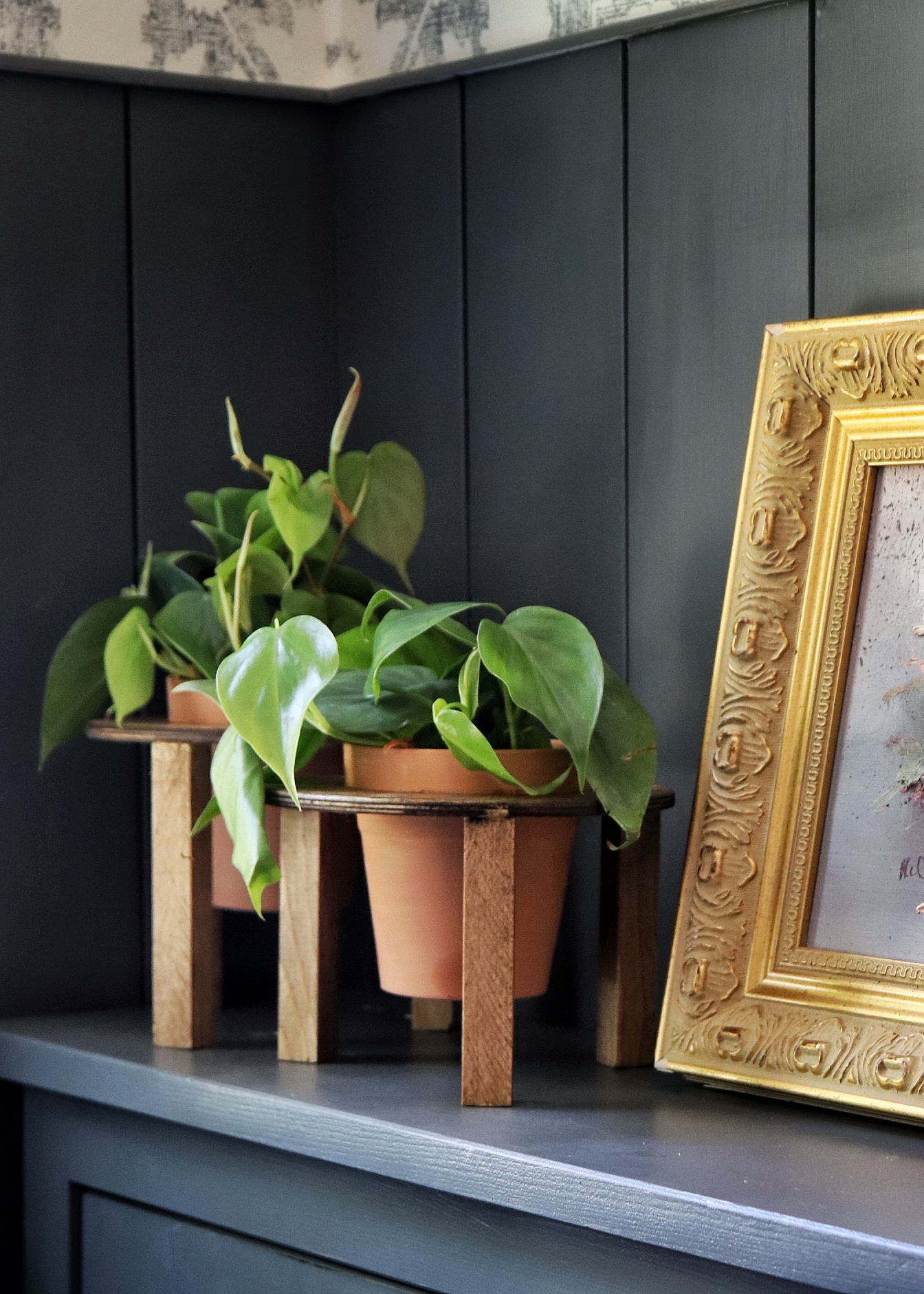 DIY Stained wood PLANT STANDS